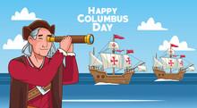 Columbus Day Celebration Scene Of Christopher Using Telescope And Caravels