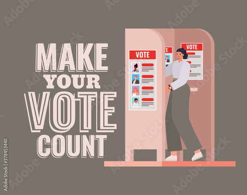 woman at voting booth with make your vote count text vector design - 378453440