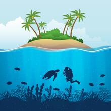 Cartoon Underwater World On Is...