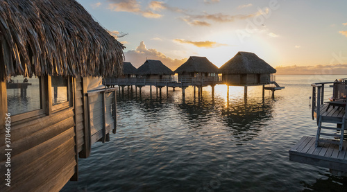 Photo Overwater Bungalows at Moorea, French Polynesia.