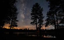 Milky Way Over A Forest Lake