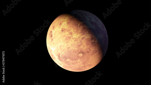 Foto Venus planet black background isolated