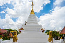 The White Pagoda In Wat Pra Thad Sob Wan Of Chiang Kham District Of Phayao Province Of Thailand. Local Believe This Pagoda Contained The Relic Of Buddha Which Over 800 Years Old.