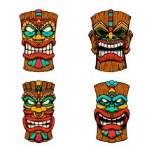 Sеt Of Illustrations Of Tiki Tribal Wooden Mask. Design Element For Logo, Emblem, Sign, Poster, Card, Banner. Vector Illustration