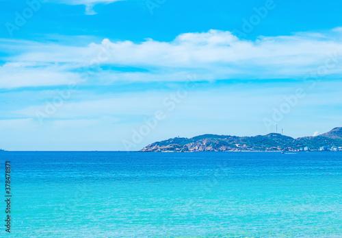 Cuadros en Lienzo Beauty panorama skyline in pure blue azure sea, clear sky, mountain island background, empty sea