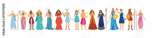 Fotografía Characters of Greek pantheon goddess and gods flat vector illustration isolated