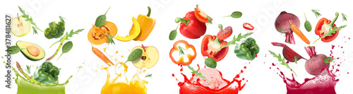 Splashes of different vegetable juices and flying ingredients on white backgroun Fototapet