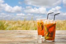 Glasses Of Tasty Cold Ice Tea ...