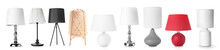 Different Stylish Lamps On Whi...