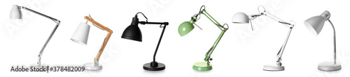 Fototapeta Different stylish lamps on white background