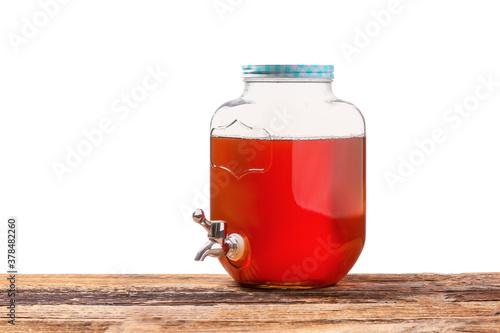 Fototapeta Jar of fresh ice tea on table against white background obraz