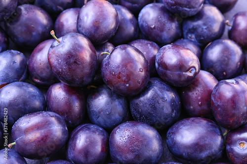 Papel de parede Many ripe plums as background