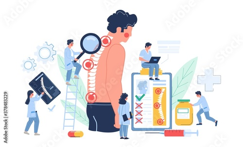 Fototapeta Osteopathy session and treatment. Man suffering from spine pain visiting osteopath, flat vector illustration. Tiny doctor characters examining patient vertebra. Osteopathic physician consultation. obraz