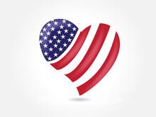 American Flag USA Love Heart S...
