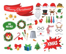 Christmas Photo Booth Props, Party Decoration Set, Flat Vector Isolated Illustration. Santa Hat, Beard, Glasses, Gift Box, Christmas Stocking, Tree, Wreath, Holly Berry, Mitten, Candy Cane Headband.