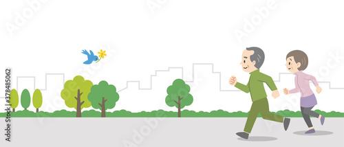 Obraz na plátně 屋外でジョギングをする老夫婦