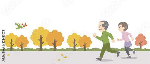 Fotografie, Obraz 屋外でジョギングをする老夫婦