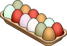 A Carton Of 12 Colourful / Multicolour Heritage Eggs.