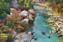 Idyllic Landscape Of Arashiyama, Kyoto, Japan In Autumn Season