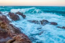 Waves Hitting Rock Pools
