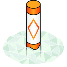 A Water Way Navigation Marker/buoy - Danger Warning. Orange Pole With A White Band And An Orange Diamond Symbol.