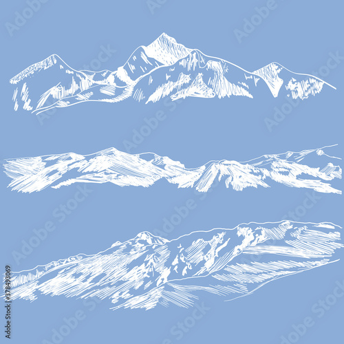 Vector Mountains Sketches, Sky Blue Background and White Drawings, Wild Nature, Snow Mountain. #378493069