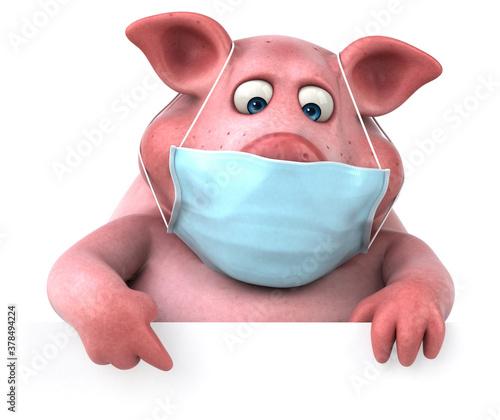Obraz na plátne Fun 3D illustration of a pig with a mask