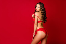Profile Photo Of Seductive Beautiful Curly Lady Model Wife Girlfriend Slim Body Shapes Taking Off Lace Bra Teasing Wear Panties Lingerie Underwear Isolated Red Bright Color Background