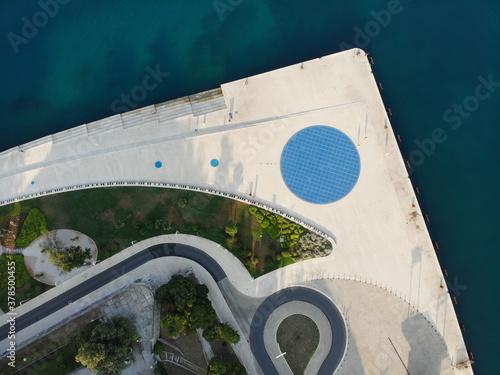 Obraz na plátně Zadar, Croatia / Zadar: 28th July 2020: Zadar Sea organ and pozdrav Suncu monume