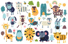 Funny Scandinavian Colorful Prints Animals. Doodle Cartoon Forest And Jungle Animals For Nursery Posters, Cards, T-shirts. Vector Illustration. Bear, Zebra, Lion, Tiger, Croc, Hippo, Giraffe, Lynx.
