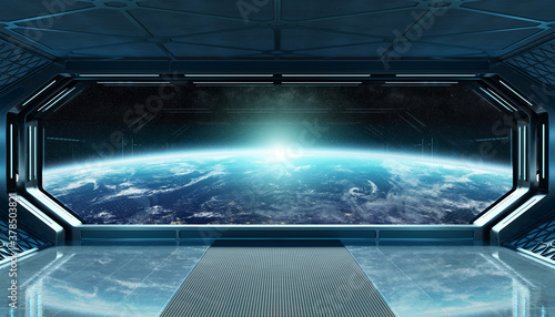 Photo Dark blue spaceship futuristic interior with window view on planet Earth 3d rend