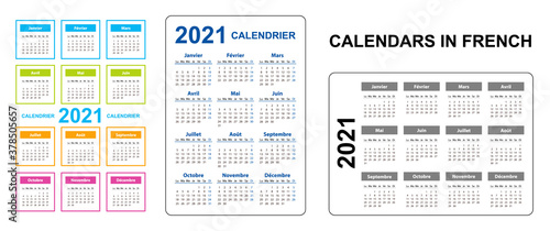 Obraz Pocket calendar on 2021 year, French. Set Vertical and horizontal. Week starts from Monday. Vector template calendar for business on black background. - fototapety do salonu