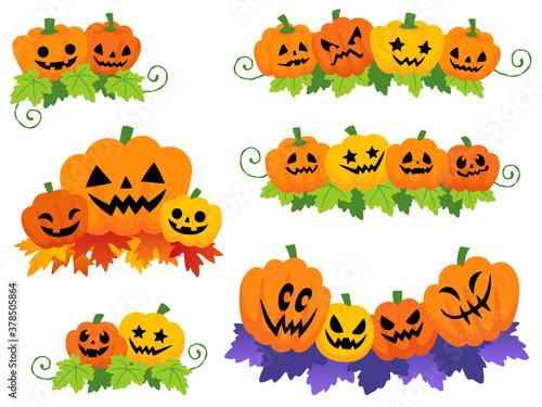 Obraz na plátně ハロウィンのかぼちゃの飾りイラストセット