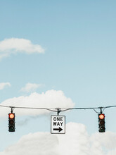Red Traffic Light And One Way ...
