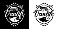 VANLIFE - VAN - STICKER - LABEL - LOGO - BLACK AND WHITE