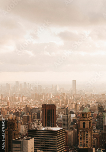 Scenic cityscape highrise buildings, New York City, New York, USA  - 378509261