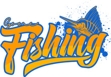 Vector Artwork Of Fishing Posters Or T Shirt Design With Blue Marlin