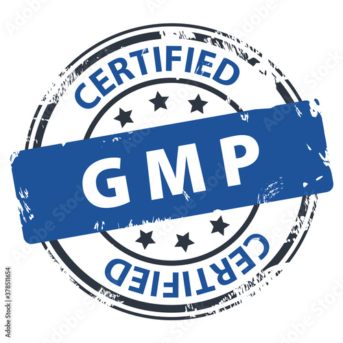 GMP Good Manufacturing Practice Certified text in round rubber stamp icon isolated on white background Canvas Print