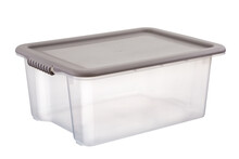 Transparent Plastic Storage Containers On White Background