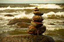 A Composition Of Stones By The Sea