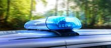 Polizei Auto Bei Tag Auf Einer Landstraße