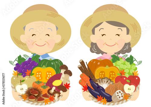Fotografie, Obraz 秋野菜と果物を持つ、農家の老夫婦