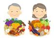 秋野菜と果物を持つ、農家の老夫婦