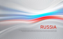 Russia Flag Background. Blurred Pattern Of Light Lines In The Colors Of The Russian Flag, Business Booklet. State Banner, Russian Poster, Patriotic Cover, Flyer. Vector Tricolor Design