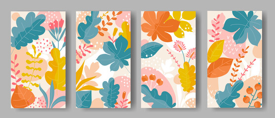 Set of vertical backgrounds with colorful leaves ornament