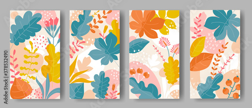 Obraz Set of vertical backgrounds with colorful leaves ornament	  - fototapety do salonu
