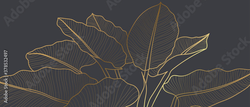 Luxury golden art deco wallpaper. Floral pattern with golden split-leaf Philodendron plant with monstera plant line art on green emerald color background. Vector illustration.