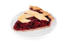 Slice Of Delicious Fresh Cherry Pie Isolated On White