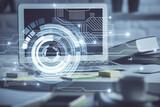 Fototapeta Kawa jest smaczna - Multi exposure of desktop computer and technology theme hologram. Concept of software development.