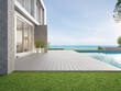 Empty outdoor wooden floor terrace near swimming pool and green grass garden in modern beach house or luxury villa. Building exterior 3d rendering with sea view.